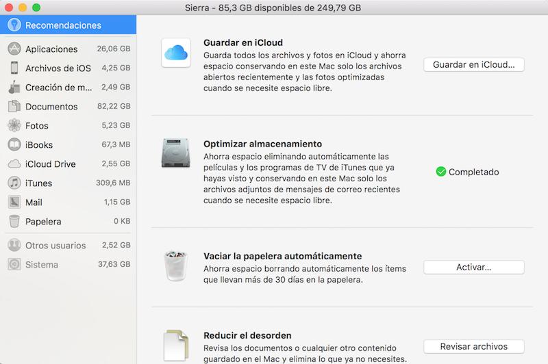 gestionar espacio Mac