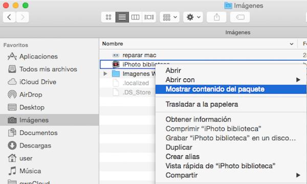 mostrar paquete librería iPhoto