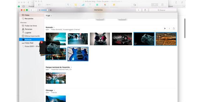 arrastrar imágenes a álbum de Fotos