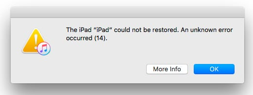 error al restaurar iPad