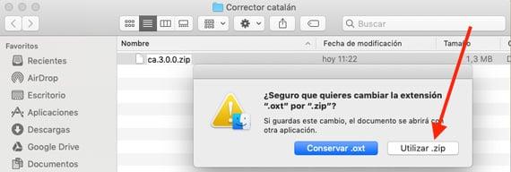 confirmación cambio extensión fichero en mac