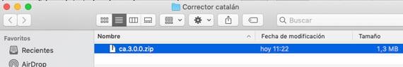 fichero con extensión zip en macOS