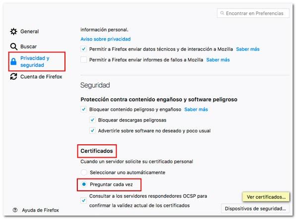 Ver certificados en Firefox MacOS