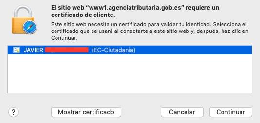 elegir un certificado digital en MacOS
