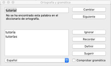 cambiar rápidamente el corrector ortográfico en un mac