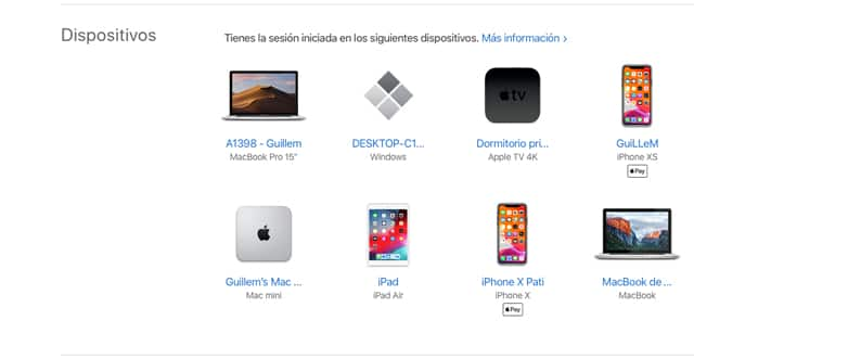 Dispositivos Apple vinculados a un ID