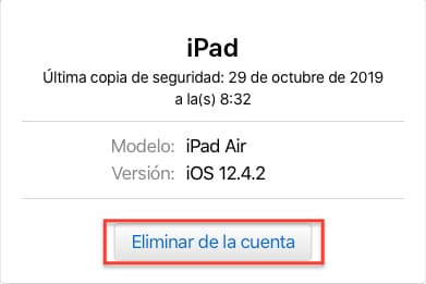 Eliminar dispositivo Apple de su cuenta